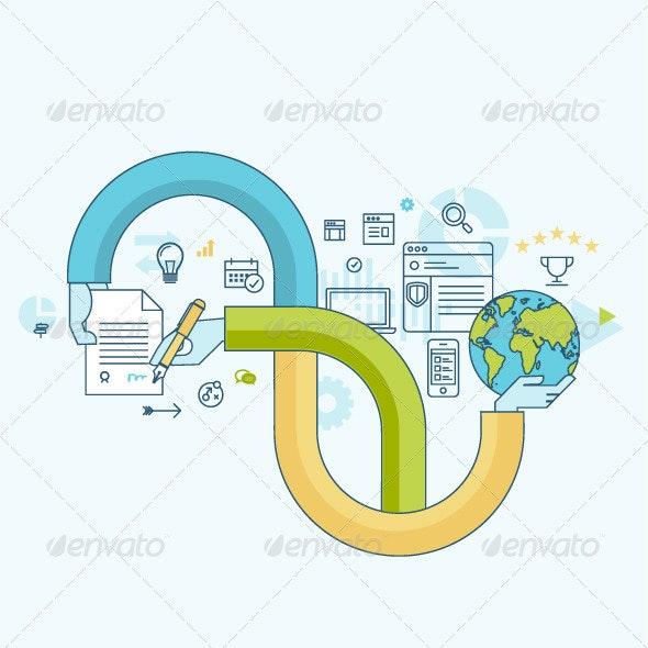 Flat Line Concept for Business - Business Conceptual