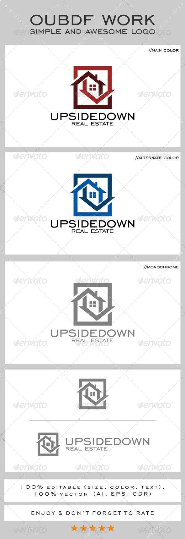 Upsidedown Real Estate Logo - Buildings Logo Templates