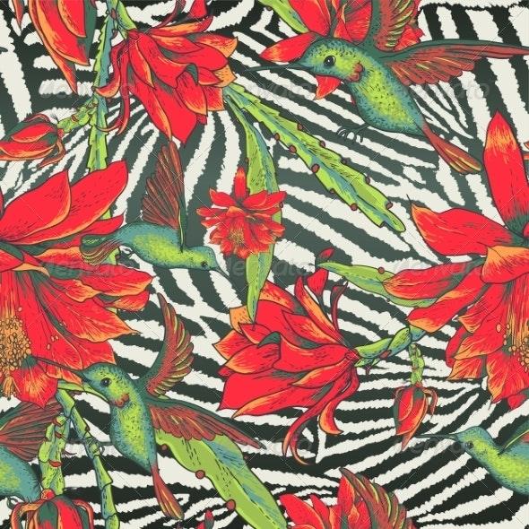 Tropical Seamless Vintage Floral Pattern - Patterns Decorative