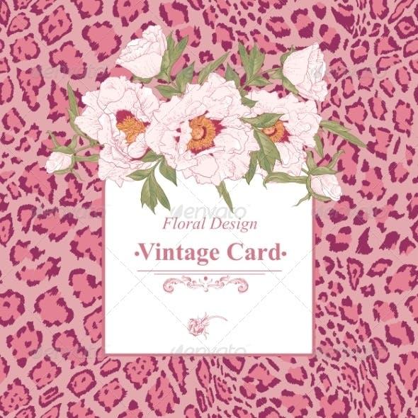 Vintage Greeting Card with Blooming Flowers