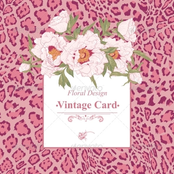 Vintage Greeting Card with Blooming Flowers - Patterns Decorative