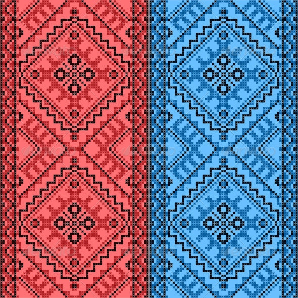 Embroidery Ukrainian National Ornament - Backgrounds Decorative