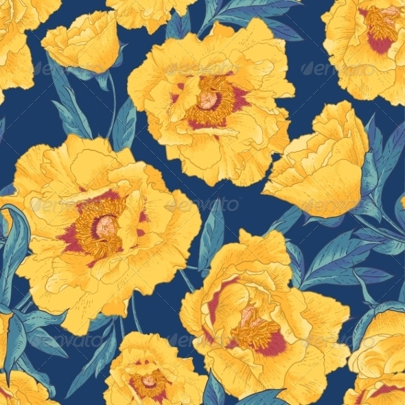Tropical Seamless Pattern with Yellow Flowers - Patterns Decorative