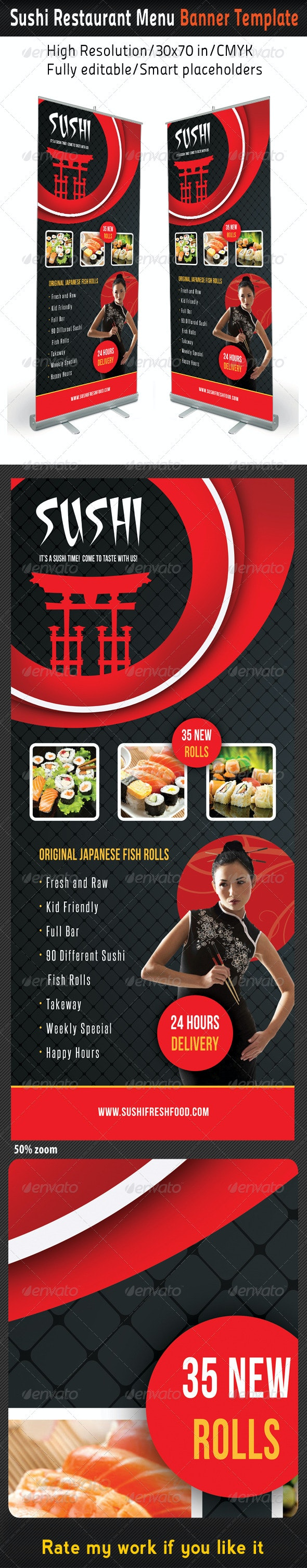 Sushi Restaurant Menu Banner Template 03 - Signage Print Templates