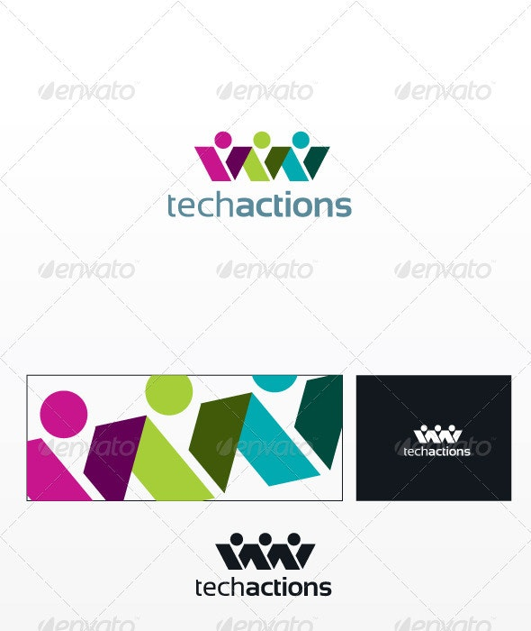 Techaction Logo - Humans Logo Templates