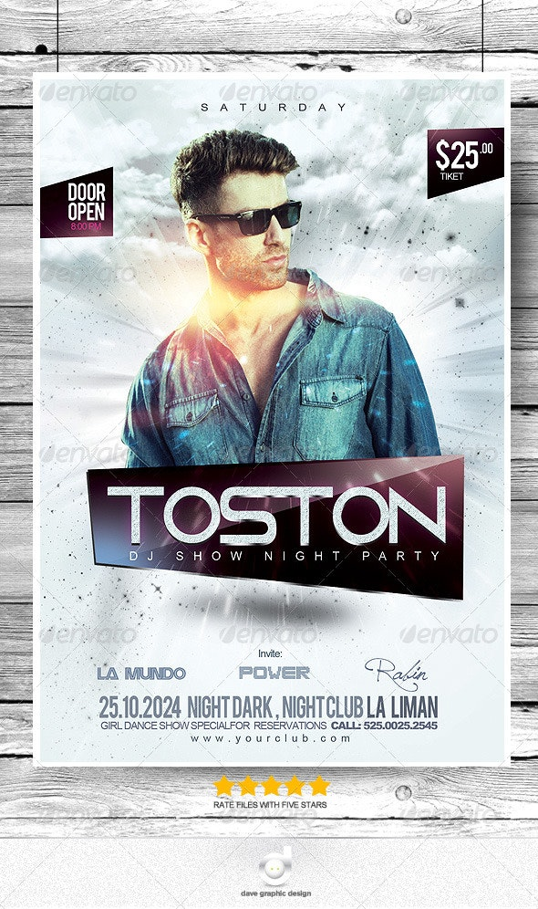 Flyer DJ Toston Night Show Party - Clubs & Parties Events