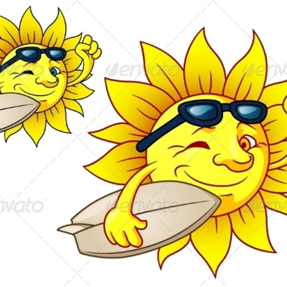 Hot Surfing Sun with Sunglasses
