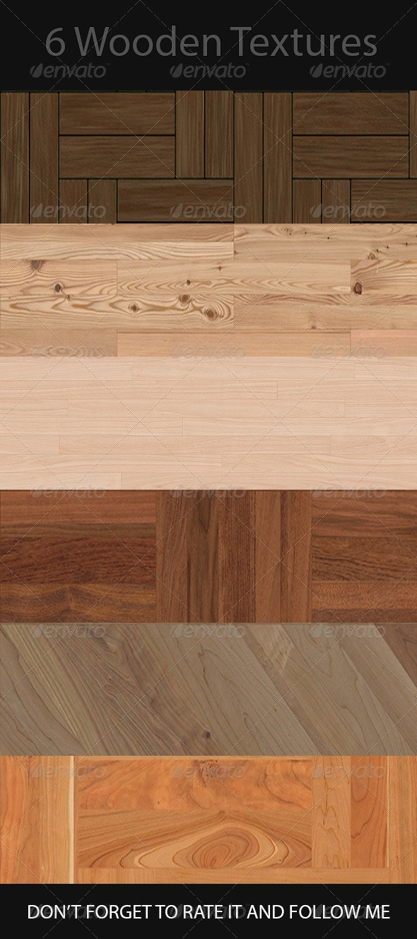 6 Seamless Photo-Realistic Wood Textures 72DPI - Wood Textures