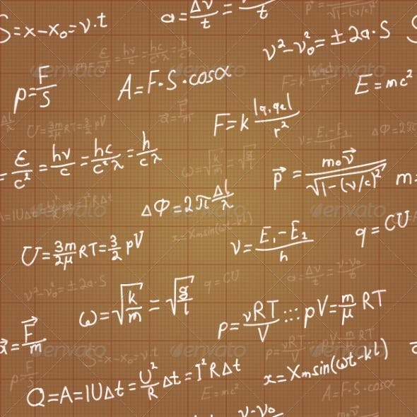 Physics Formulas Vector Seamless Pattern on Brown