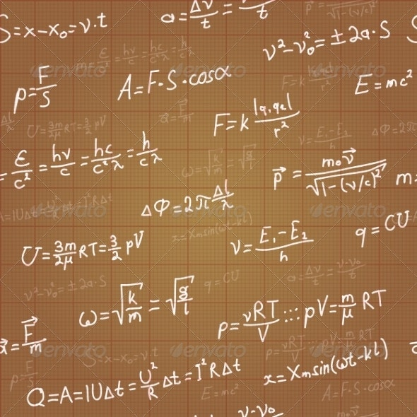 Physics Formulas Vector Seamless Pattern on Brown - Miscellaneous Conceptual