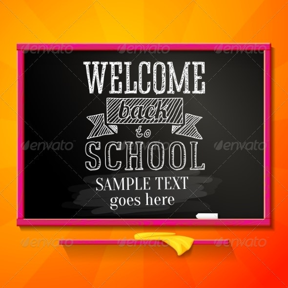 Bright Chalkboard with Greeting Welcome Back - Miscellaneous Conceptual