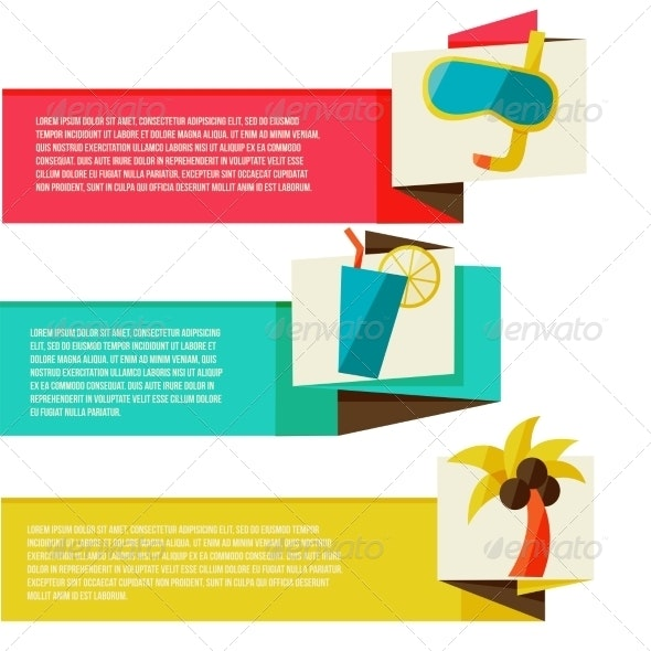Collection of Banners with Summer Design Elements - Travel Conceptual