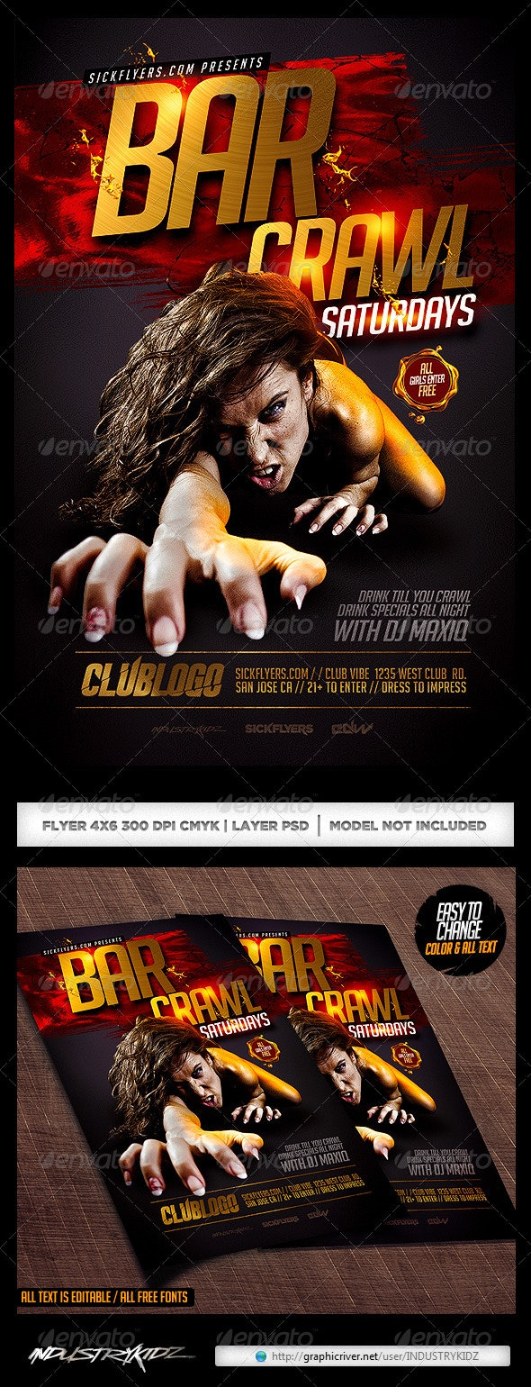 Bar Crawl Flyer Template PSD - Clubs & Parties Events