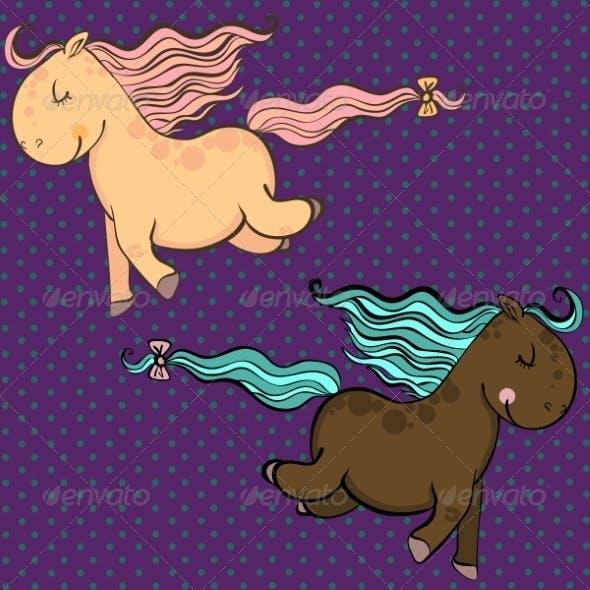Cartoon Vector Horses