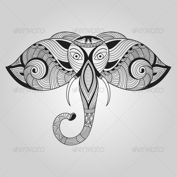Vector Doodle Elephant - Animals Characters