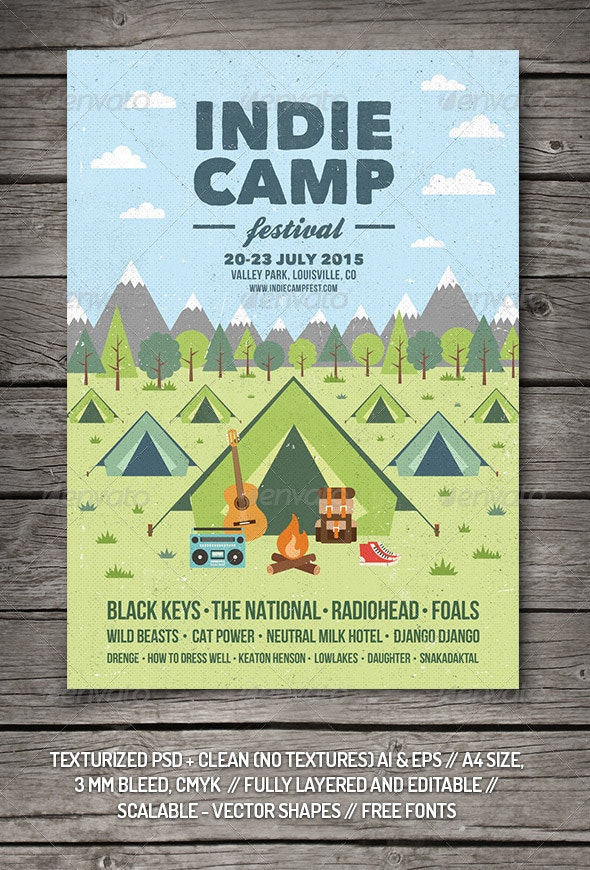 Indie Camp Festival Flyer/Poster - Concerts Events