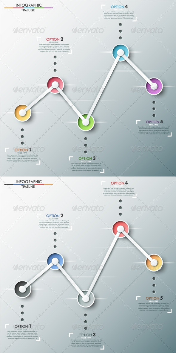 Modern Infographics Timeline (Two Versions) - Infographics