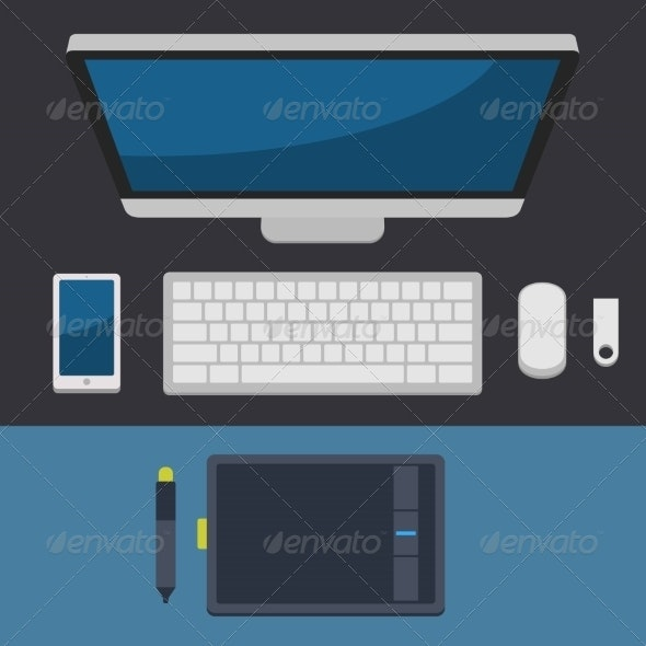 Office Workplace Top View in Flat Design Vector - Computers Technology