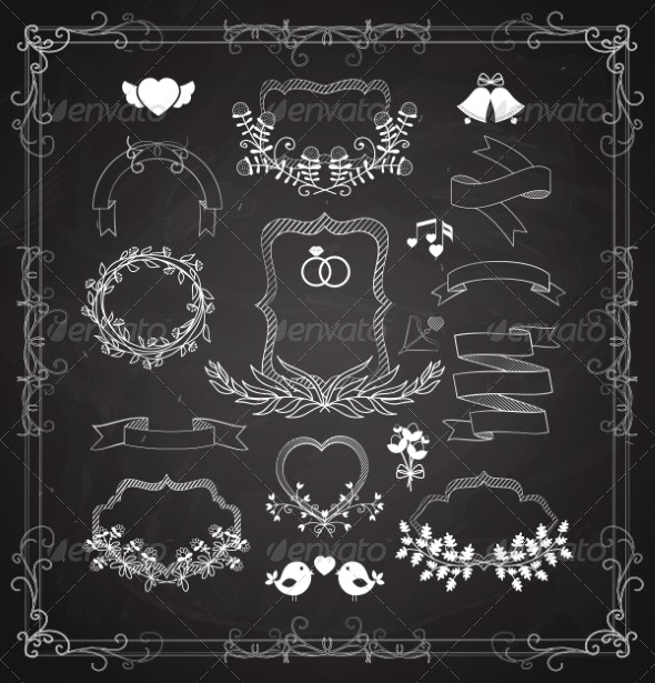 Wedding Graphic Set with Wreaths and Ribbons - Borders Decorative