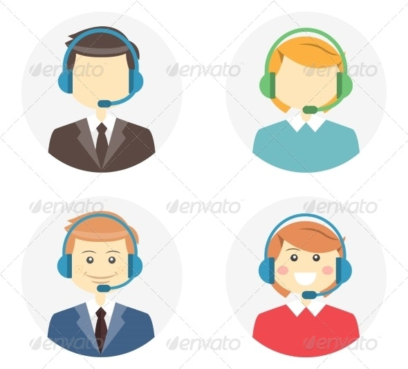 Call Center Operator Icons - People Characters
