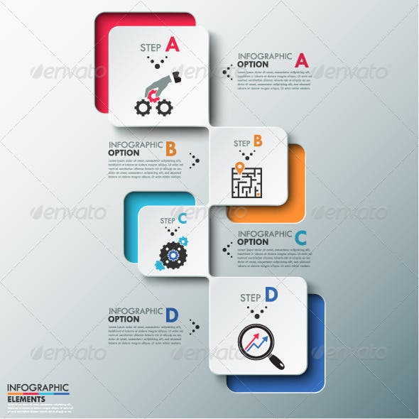 Modern Infographics Process Template (2 Versions)