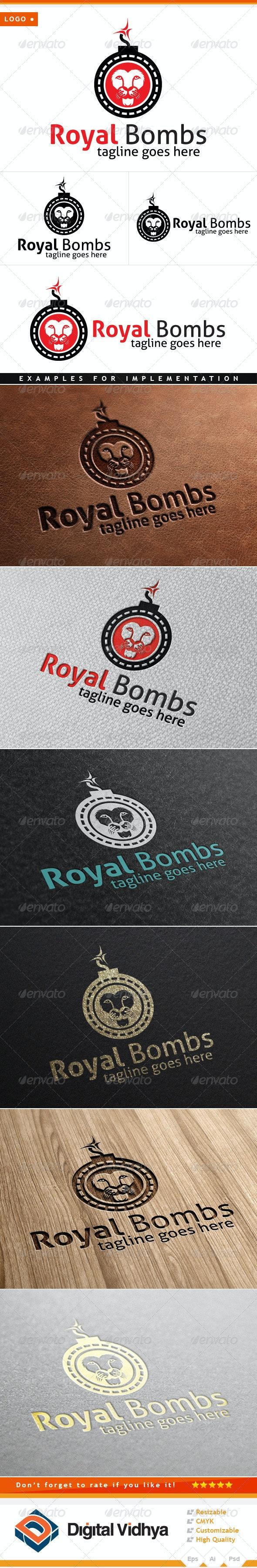 Lion & Bomb Logo - Animals Logo Templates