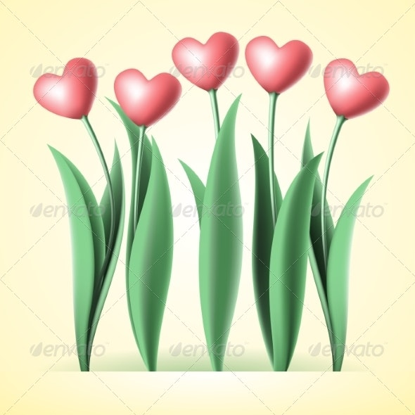 Heart Tulips - Backgrounds Decorative