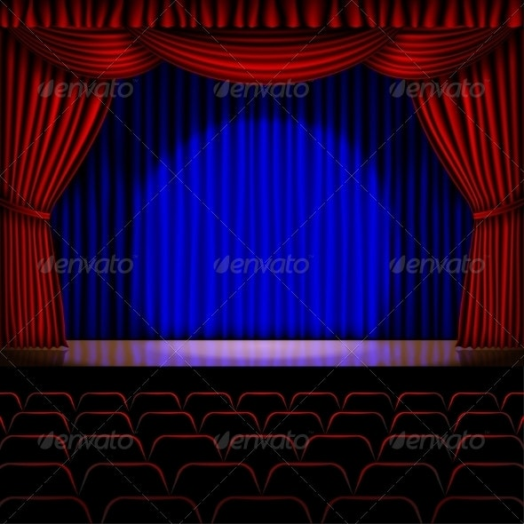 Stage with Red Curtain - Backgrounds Decorative