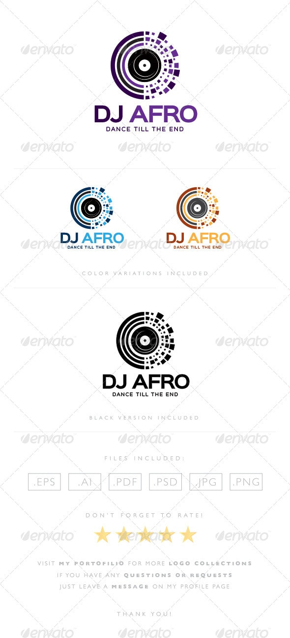DJ Afro Logo - Objects Logo Templates
