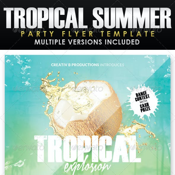 Tropical Summer Party Flyer Template 2