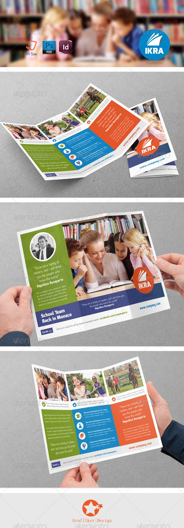 School Book Tri-Fold Templates - Corporate Flyers