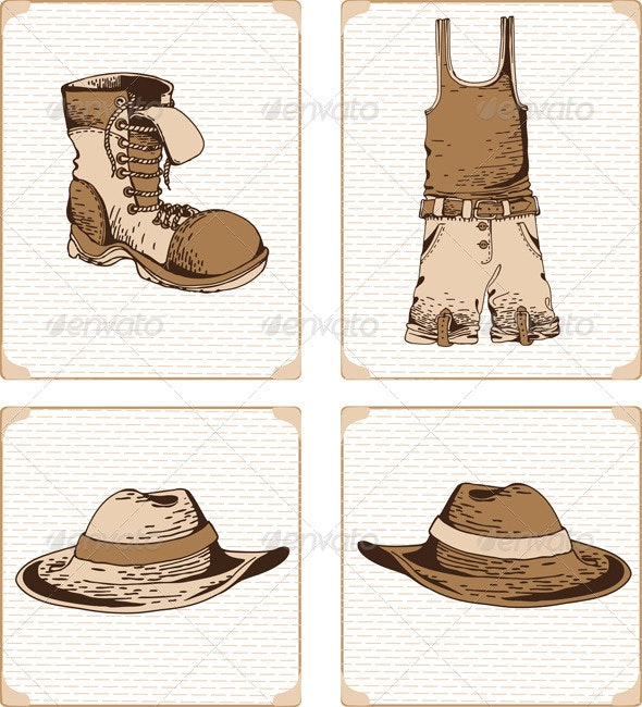 Fashionable Mens Clothing Drawn Vector - Objects Vectors