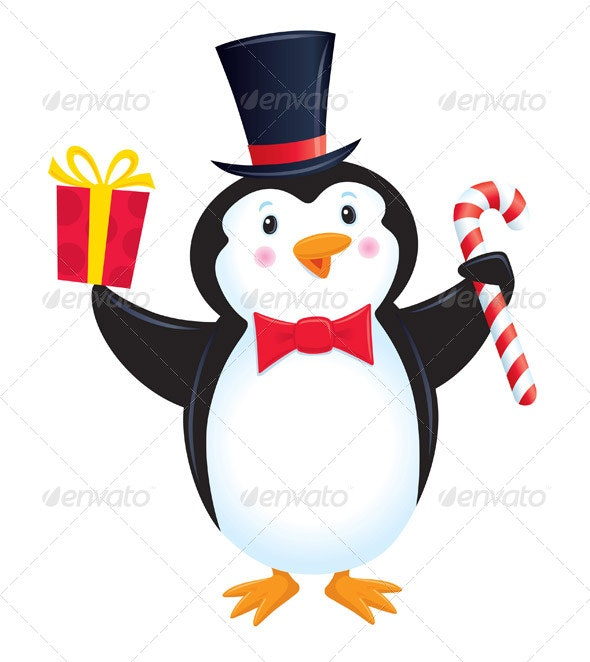 Penguin In Top Hat Holding A Present - Christmas Seasons/Holidays