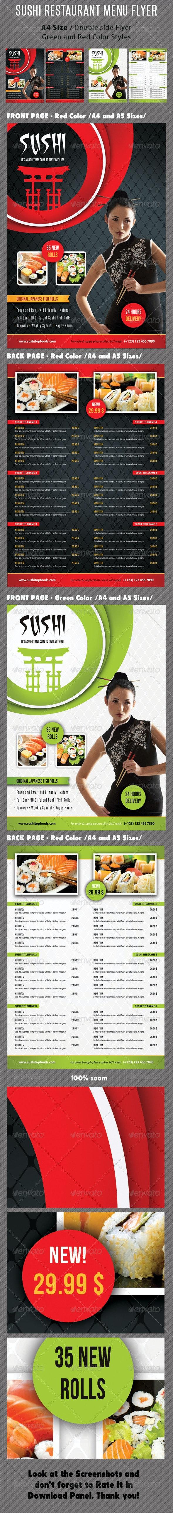 Sushi Restaurant Menu Flyer V04 - Food Menus Print Templates