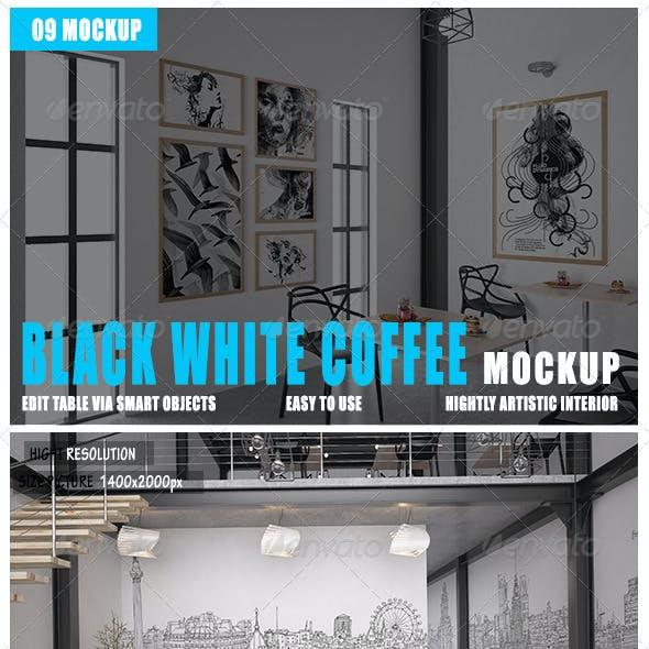 Coffee Black White Mockup