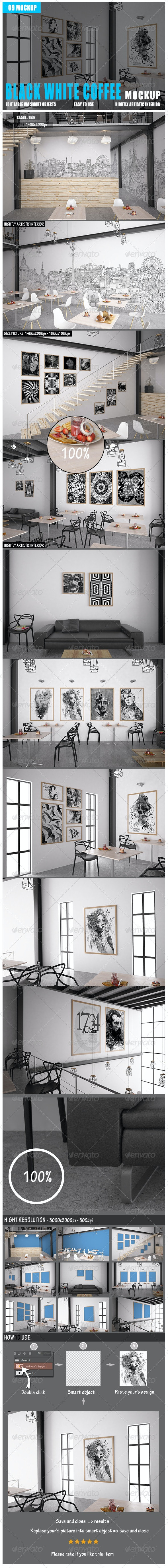 Coffee Black White Mockup - Posters Print