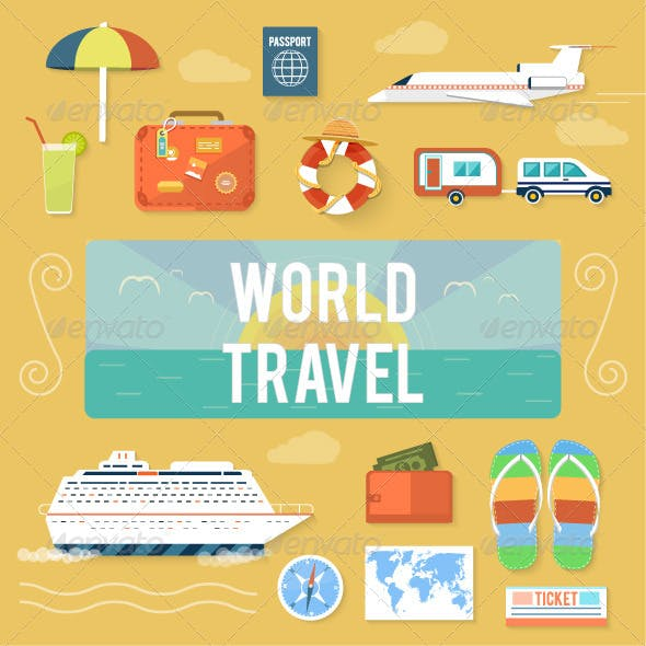 Traveling and Planning Summer Vacation Set
