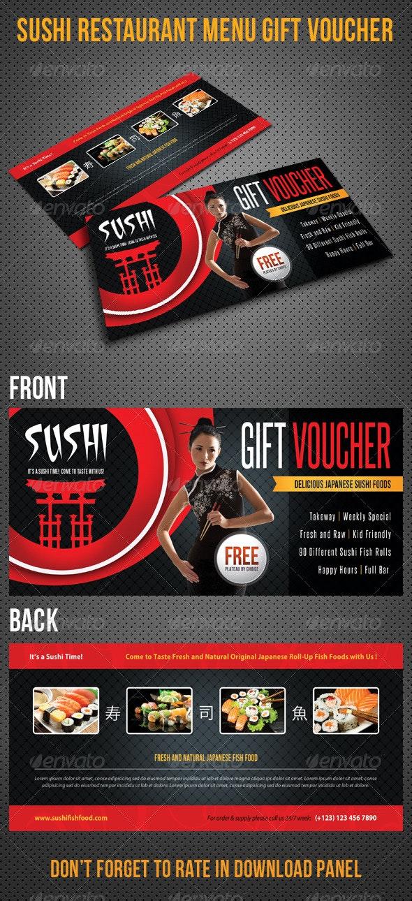 Sushi Restaurant Menu Gift Voucher V24 - Cards & Invites Print Templates