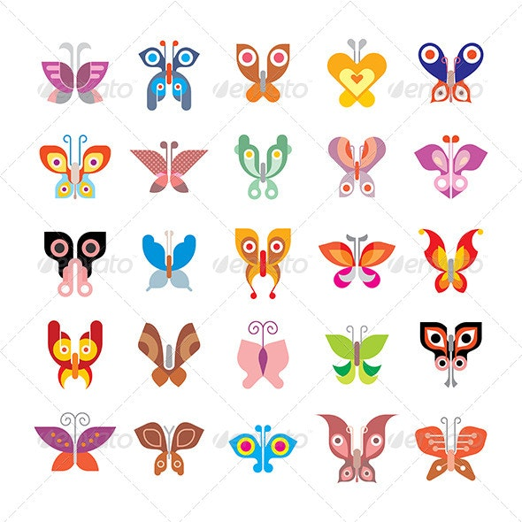 Butterfly icon Set - Animals Characters