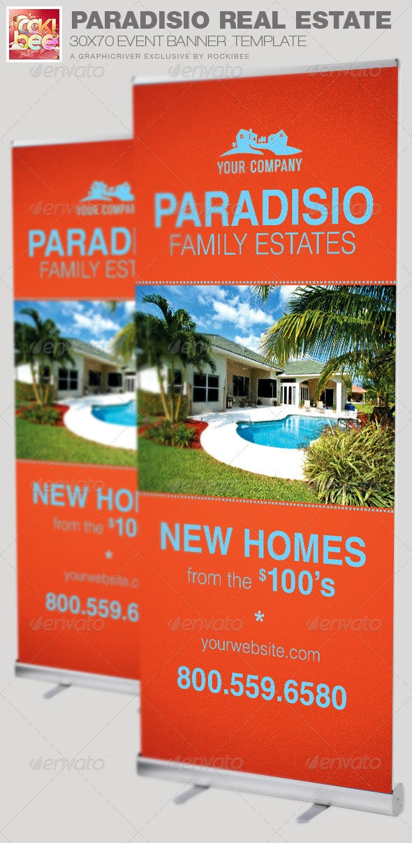 Paradisio Real Estate Banner Template By Rockibee Graphicriver