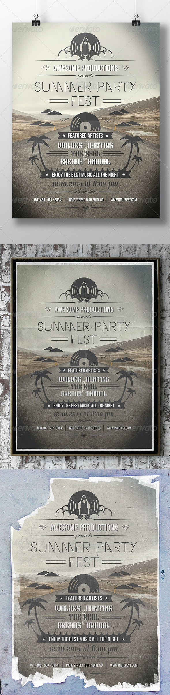 Summer Typography Flyer Poster - Concerts Events