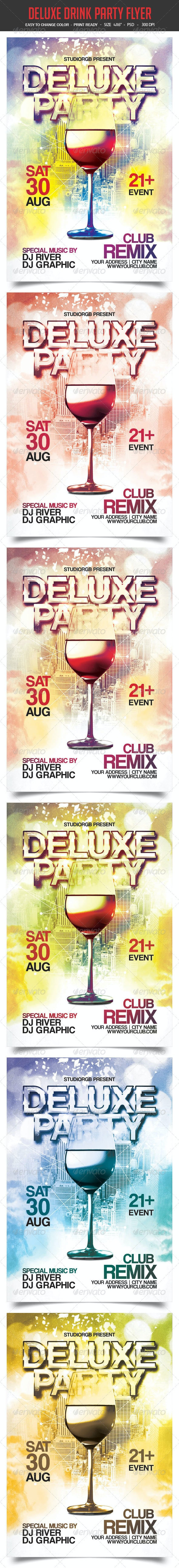 Deluxe Drink Party Flyer - Clubs & Parties Events