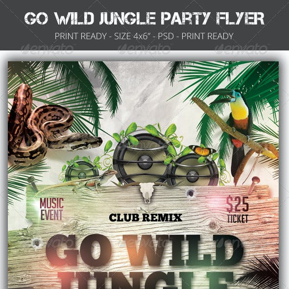 Go Wild Jungle Party Flyer