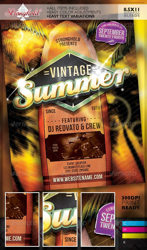 Vintage Summer Surfboard Flyer Template - Clubs & Parties Events