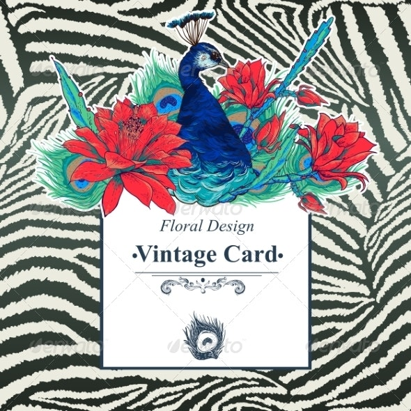 Floral Vector Vintage Card with Peacock - Patterns Decorative