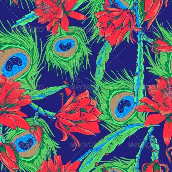 Seamless Pattern with Flowers and Feathers - Patterns Decorative