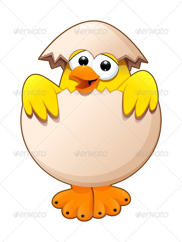Funny Chick in the Egg - Animals Characters