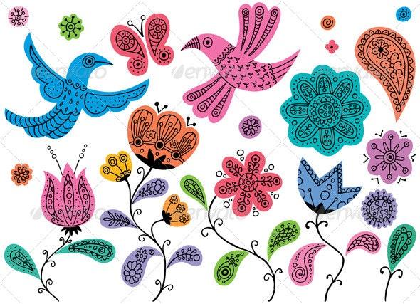 Floral Doodles - Flourishes / Swirls Decorative