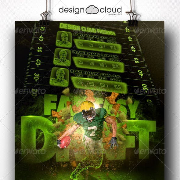 Fantasy Football Draft Party Flyer Template